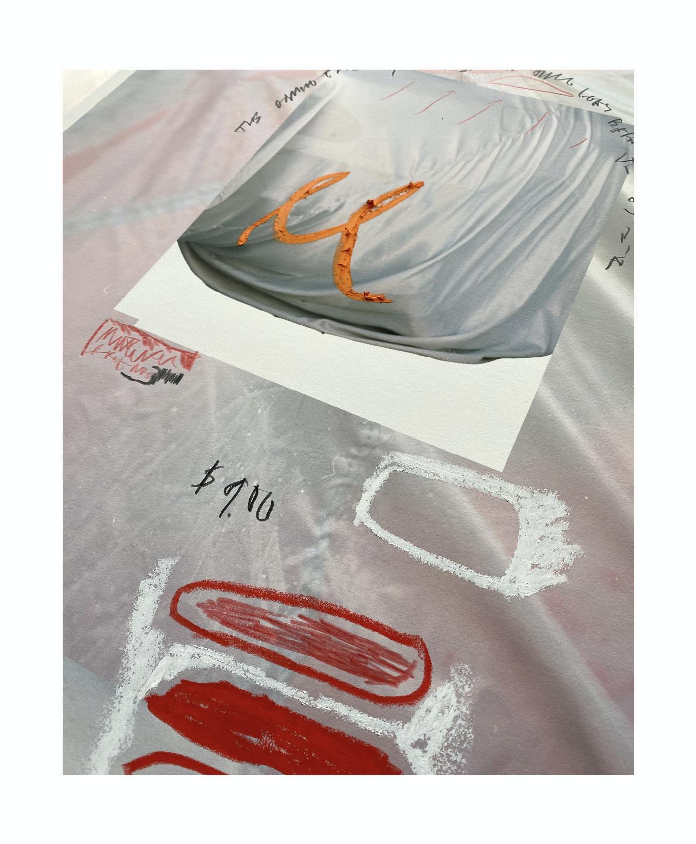 JOE DOWLING & KEN GRIFFEN, 2020 Archival pigment print, oil pastel, pencil 93 x 62cm including aluminium frame